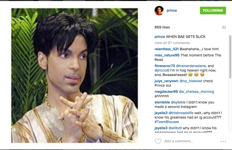 prince tweets instagram
