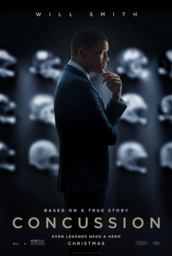 """This image released by Sony Pictures shows the poster art for the film, """"Concussion,"""" to be released in U.S. theaters on Christmas Day. The Los Angeles film festival announced Wednesday, Sept. 30, that the Peter Landesman-directed film will debut at AFI on November 10. (Sony Pictures via AP)"""