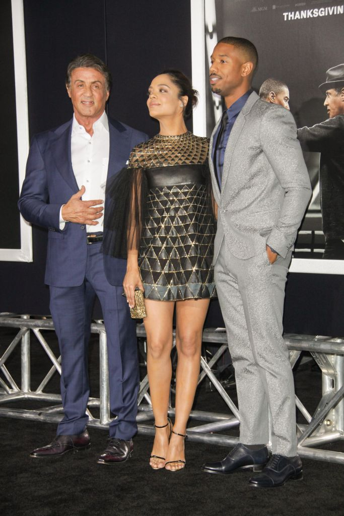 "11/19/2015 - Sylvester Stallone, Tessa Thompson and Michael B. Jordan - ""Creed"" Los Angeles Premiere - Arrivals - Regency Village Theatre, 961 Broxton Avenue - Los Angeles, CA, USA - Keywords: Vertical, Movie Premiere, Film Premiere, Film Industry, Red Carpet Event, Arrival, Portrait, Photography, Arts Culture and Entertainment, Celebrities, Celebrity, People, Person, Topix, Bestof, Warner Bros. Pictures, Mann Village Theatre, Theater, Westwood, California Orientation: Portrait Face Count: 1 - False - Photo Credit: Izumi Hasegawa / PRPhotos.com - Contact (1-866-551-7827) - Portrait Face Count: 1"