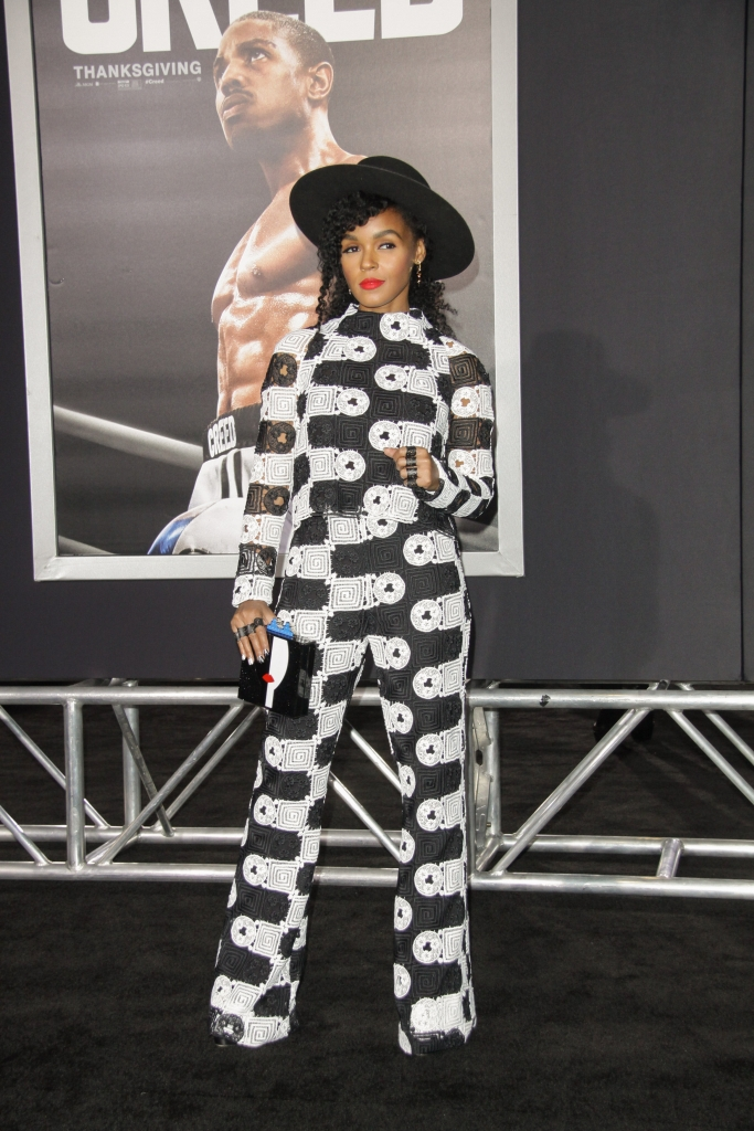 "11/19/2015 - Janelle Monae - ""Creed"" Los Angeles Premiere - Arrivals - Regency Village Theatre, 961 Broxton Avenue - Los Angeles, CA, USA - Keywords: Vertical, Movie Premiere, Film Premiere, Film Industry, Red Carpet Event, Arrival, Portrait, Photography, Arts Culture and Entertainment, Celebrities, Celebrity, People, Person, Topix, Bestof, Warner Bros. Pictures, Mann Village Theatre, Theater, Westwood, California Orientation: Portrait Face Count: 1 - False - Photo Credit: Izumi Hasegawa / PRPhotos.com - Contact (1-866-551-7827) - Portrait Face Count: 1"