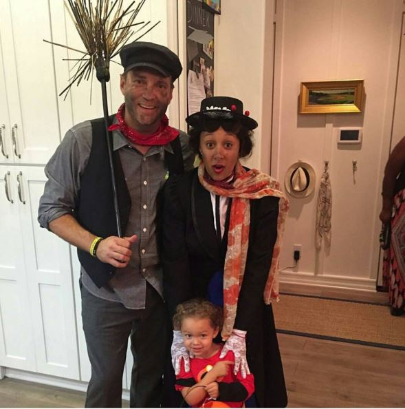 Tamera Mowry Housely and husband Adam as Mary Poppins and the Chimney Cleaner