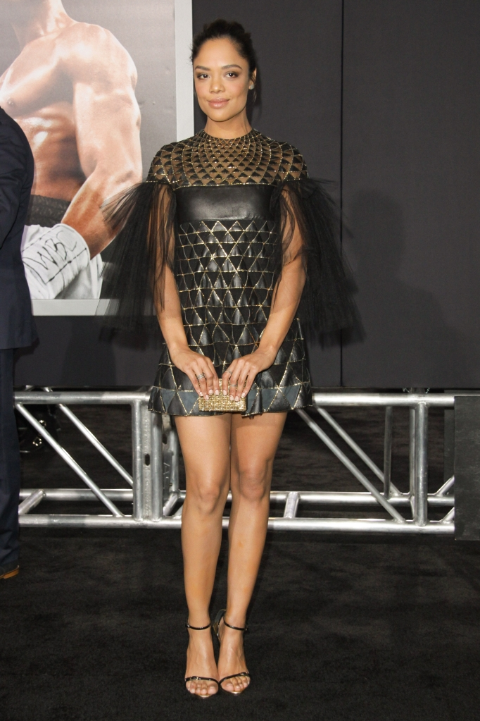 "11/19/2015 - Tessa Thompson - ""Creed"" Los Angeles Premiere - Arrivals - Regency Village Theatre, 961 Broxton Avenue - Los Angeles, CA, USA - Keywords: Vertical, Movie Premiere, Film Premiere, Film Industry, Red Carpet Event, Arrival, Portrait, Photography, Arts Culture and Entertainment, Celebrities, Celebrity, People, Person, Topix, Bestof, Warner Bros. Pictures, Mann Village Theatre, Theater, Westwood, California Orientation: Portrait Face Count: 1 - False - Photo Credit: Izumi Hasegawa / PRPhotos.com - Contact (1-866-551-7827) - Portrait Face Count: 1"