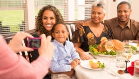 Relationships: Family gathers for dinner at grandma's house.