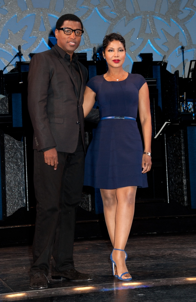 """03/13/2014 - Kenny """"Babyface"""" Edmonds, Toni Braxton - Toni Braxton and Kenny """"Babyface"""" Edmonds Join the Cast of """"After Midnight"""" at the Brooks Atkinson Theatre in New York City on March 13, 2014 - Brooks Atkinson Theatre, 256 West 47th Street - New York City, NY, USA - Keywords: blue dress, blue belt, necklace, jewelry, black pants, black jacket, black shirt, glasses, eyeglasses, arts culture and entertainment, Stage, American R&B singer-songwriter, pianist, record producer, actress, television personality, Kenny Edmonds, Arts Culture and Entertainment, Celebrities, Celebrity, Musician, Performer, Singer Orientation: Portrait Face Count: 1 - False - Photo Credit: Janet Mayer / PRPhotos.com - Contact (1-866-551-7827) - Portrait Face Count: 1"""