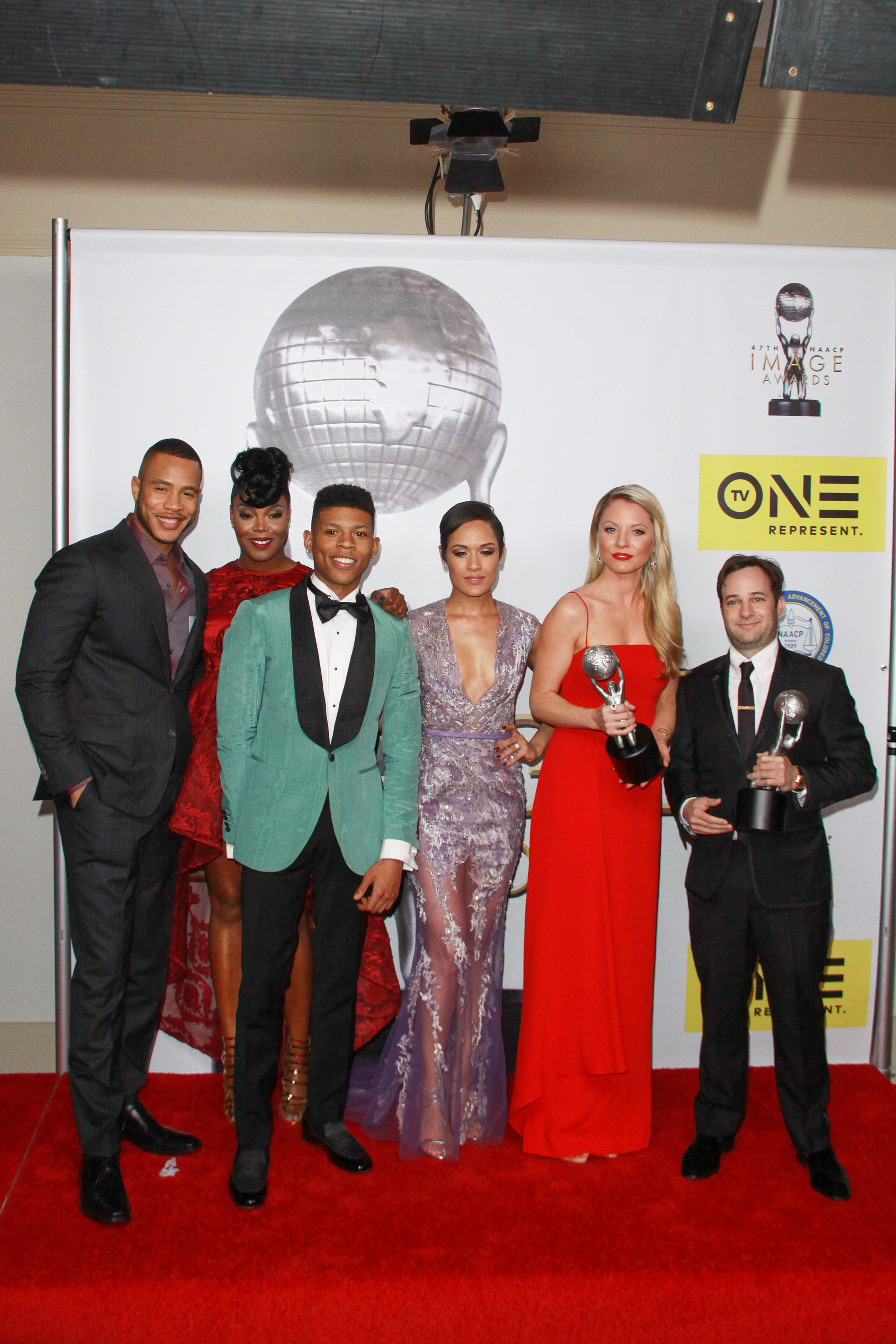 "02/05/2016 - Trai Byers, Ta'Rhonda Jones, Bryshere Y. Gray, Grace Gealey, Kaitlin Doubleday, Danny Strong - 47th NAACP Image Awards - Press Room - Pasadena Civic Auditorium - Pasadena, CA, USA - Keywords: ""Empire"", Vertical, Red Carpet Event, People, Person, Award, Portrait, Photography, Arts Culture and Entertainment, Attending, Celebrities, Celebrity, Award, Topix, Bestof, The National Association for the Advancement of Colored People, civil rights organization, ethnic minorities, City Of Los Angeles, California Orientation: Portrait Face Count: 1 - False - Photo Credit: Kazuki Hirata / HollywoodNewsWire.net / PRPhotos.com - Contact (1-866-551-7827) - Portrait Face Count: 1"