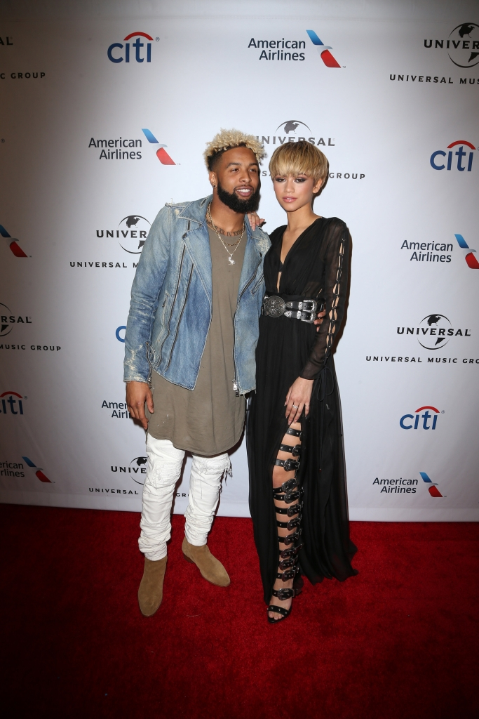 02/15/2016 - Odell Beckham Jr., Zendaya - Universal Music Group's 2016 Grammy Afterparty - Arrivals  - The Theatre at the Ace Hotel - Los Angeles, CA, USA - Keywords: NFL player, National Football League, Man, Vertical, Red Carpet Arrival, Music, Portrait, Photography, After Party, Grammy Awards, Arts Culture and Entertainment, Attending, Person, People, Celebrities, Celebrity, UMG, Grammy Party, Theater, Ace Hotel Downtown Los Angeles, California Orientation: Portrait - False - Photo Credit: PRPhotos.com - Contact (1-866-551-7827) - Portrait