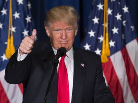 Republican presidential candidate Donald Trump gives a thumbs up after giving a foreign policy speech at the Mayflower Hotel in Washington, Wednesday, April 27, 2016. Trump's highly anticipated foreign policy speech Wednesday will test whether the Republican presidential front-runner, known for his raucous rallies and eyebrow-raising statements, can present a more presidential persona as he works to unite the GOP establishment behind him. (AP Photo/Evan Vucci)