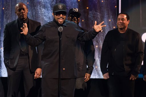 Inductees Dr. Dre, from left, Ice Cube, MC Ren and DJ Yella from N.W.A appear at the 31st Annual Rock and Roll Hall of Fame Induction Ceremony at the Barclays Center on Friday, April 8, 2016, in New York. (Photo by Charles Sykes/Invision/AP)