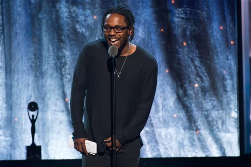 Kendrick Lamar speaks at the 31st Annual Rock and Roll Hall of Fame Induction Ceremony at the Barclays Center on Friday, April 8, 2016, in New York. (Photo by Charles Sykes/Invision/AP)