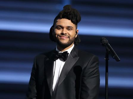 FILE - In this Feb. 15, 2016 file photo, The Weeknd appears at the 58th annual Grammy Awards in Los Angeles. The Weeknd was nominated for 16 Billboard Music Awards, on Monday, April 11, in such categories as top artist top Hot 100 song. The show will air live on ABC from the T-Mobile Arena in Las Vegas on May 22. (Photo by Matt Sayles/Invision/AP, File)