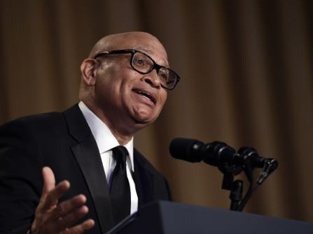 Larry Wilmore, the guest host from Comedy Central, speaks at the annual White House Correspondents' Association dinner at the Washington Hilton in Washington, Saturday, April 30, 2016. (AP Photo/Susan Walsh)