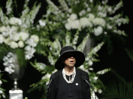Muhammad Ali's wife Lonnie Ali speaks during his memorial service, Friday, June 10, 2016, in Louisville, Ky. (AP Photo/David Goldman)