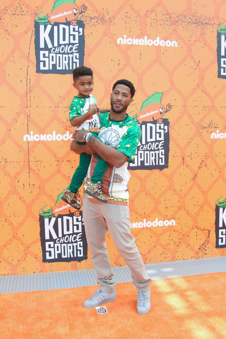 Derrick Rose and his son JP