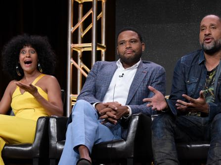 "Tracee Ellis Ross, from left, Anthony Anderson and Kenya Barris participate in the ""Black-ish'"" panel during the Disney/ABC Television Critics Association summer press tour on Thursday, Aug. 4, 2016, in Beverly Hills, Calif. (Photo by Richard Shotwell/Invision/AP)"