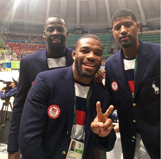 Wrestler Jordan Burroughs and NBA's Draymond Green and Paul George