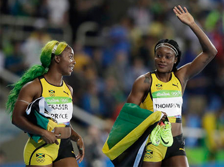 Shelly-Ann Fraser Price and Elaine Thompson