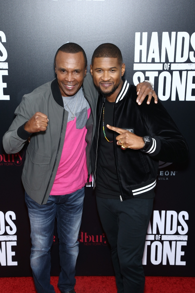 "08/22/2016 - Sugar Ray Leonard, Usher - ""Hands of Stone"" U.S. Premiere - Arrivals - SVA Theatre, 333 W 23rd Street - New York City, NY, USA - Keywords: Arts Culture and Entertainment, Attending, Film Industry, Movie Premiere, Person, People, Celebrity, Celebrities, Photography, Portrait, Red Carpet Event, School of Visual Arts Theater Orientation: Portrait Face Count: 2 - False - Photo Credit: John Nacion Imaging / PRPhotos.com - Contact (1-866-551-7827) - Portrait Face Count: 2"