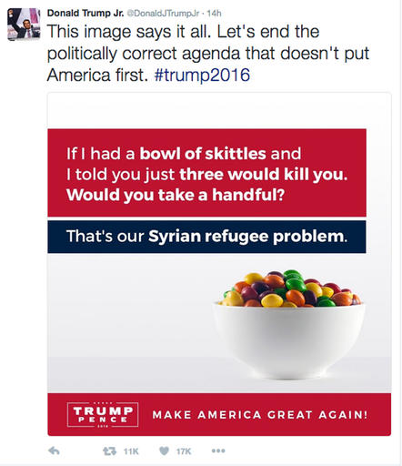 """This screenshot shows the tweet posted on Monday, Sept. 19, 2016, by Donald Trump Jr., in which he compares Syrian refugees to a bowl of poisoned Skittles. The post caused a stir and negative tweets on the internet into Tuesday, including a terse response from Skittles parent company, Wrigley Americas. """"Skittles are candy. Refugees are people. We don't feel it's an appropriate analogy,"""" Vice President of Corporate Affairs Denise Young said in the statement. (Twitter via AP)"""