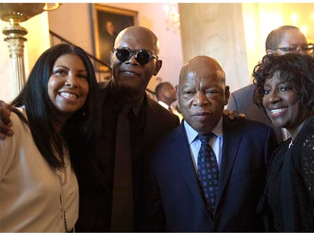 Cookie Johnson, Samuel Jackson, Rep. John Lewis and Dr. LaTonya Jackson