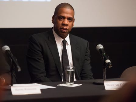 "Shawn ""Jay Z"" Carter announces the Weinstein Television and Spike TV release of ""TIME: The Kalief Browder Story"" during a press conference at The Roxy Hotel Cinema on Thursday, Oct. 6, 2016, in New York. (Photo by Charles Sykes/Invision/AP)"
