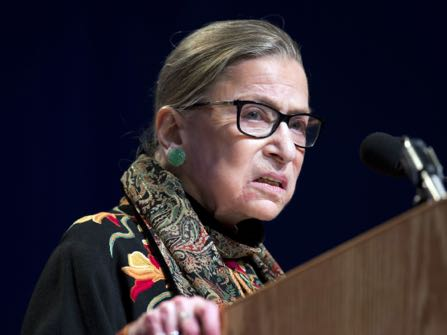 FILE - In this Jan. 28, 2016 file photo, Supreme Court Justice Ruth Bader Ginsburg speaks at Brandeis University in Waltham, Mass. Ginsburg is riding the wave of her cultural rockstardom, releasing a compilation of her writings that range from a high school editorial to summaries of some of her spiciest dissenting opinions. (AP Photo/Michael Dwyer, File)