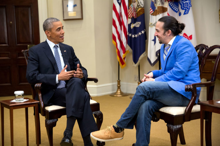 "President Barack Obama participates in an interview with Lin-Manuel Miranda for the PBS documentary ""Hamilton's America"" in the Roosevelt Room of the White House, March 14, 2016. (Official White House Photo by Chuck Kennedy) This photograph is provided by THE WHITE HOUSE as a courtesy and may be printed by the subject(s) in the photograph for personal use only. The photograph may not be manipulated in any way and may not otherwise be reproduced, disseminated or broadcast, without the written permission of the White House Photo Office. This photograph may not be used in any commercial or political materials, advertisements, emails, products, promotions that in any way suggests approval or endorsement of the President, the First Family, or the White House."