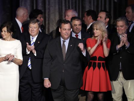 New Jersey Gov. Chris Christie pumps his fist as President-elect Donald Trump gives his acceptance speech during his election night rally, Wednesday, Nov. 9, 2016, in New York. (AP Photo/John Locher)