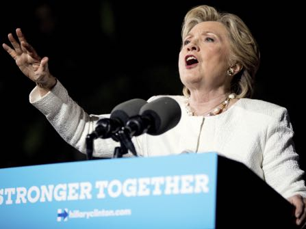 Democratic presidential candidate Hillary Clinton speaks at a rally at Reverend Samuel Delevoe Memorial Park in Fort Lauderdale, Fla., Tuesday, Nov. 1, 2016. (AP Photo/Andrew Harnik)