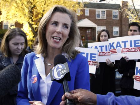 Pennsylvania Democratic Senate candidate Katie McGinty addresses a reporter's question after casting her ballot, Tuesday Nov. 8, 2016, in Wayne, Pa. McGinty is running against Sen. Pat Toomey, R-Pa. (AP Photo/Jacqueline Larma)