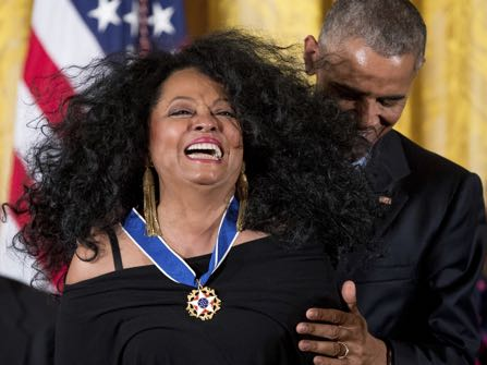 President Barack Obama presents the Presidential Medal of Freedom to singer Diana Ross during a ceremony in the East Room of the White House, Tuesday, Nov. 22, 2016, in Washington. Obama is recognizing 21 Americans with the nation's highest civilian award, including giants of the entertainment industry, sports legends, activists and innovators. (AP Photo/Andrew Harnik)