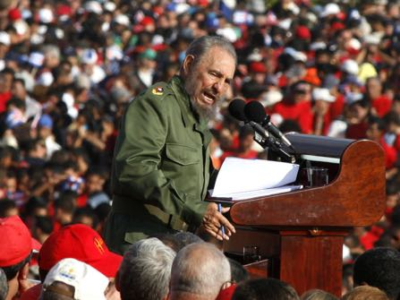 FILE - In this May 1, 2006 file photo, Cuba's leader Fidel Castro speaks on International Workers Day in Revolution Plaza in Havana, Cuba. Former President Fidel Castro, who led a rebel army to improbable victory in Cuba, embraced Soviet-style communism and defied the power of 10 U.S. presidents during his half century rule, has died at age 90. The bearded revolutionary, who survived a crippling U.S. trade embargo as well as dozens, possibly hundreds, of assassination plots, died eight years after ill health forced him to formally hand power over to his younger brother Raul, who announced his death late Friday, Nov. 25, 2016, on state television. (AP Photo/Javier Galeano, File)