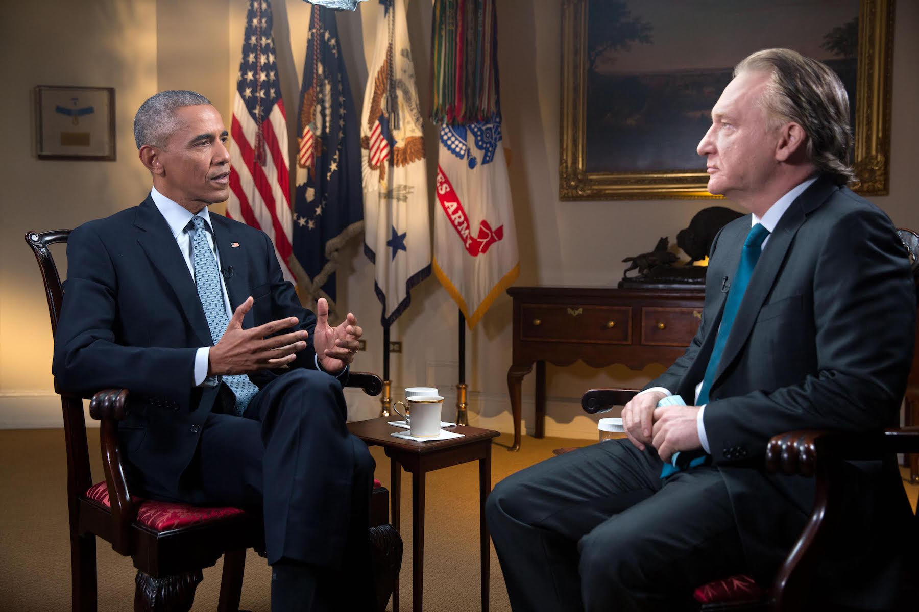 """In this Tuesday, Nov. 1, 2016 photo provided by HBO, host Bill Maher, right, speaks with his interview guest, President Barack Obama, left, during a taping of the television show """"Real Time with Bill Maher,"""" at the White House in Washington. The show aired on HBO's """"Real Time"""" Friday night, Nov. 4. Obama spoke with pride of his achievements during his two terms as chief executive, saying """"every single issue we've made progress on"""" will be on the ballot next Tuesday in the form of the opposing candidates. (Amanda Lucidon/HBO via AP)"""