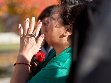 Parents and family members react as officials respond to Mountain View High School where several students were stabbed Tuesday, Nov. 15, 2016, in Orem, Utah. Police say a 16-year-old boy was taken into custody after the stabbings. (Sammy Jo Hester/The Daily Herald via AP)