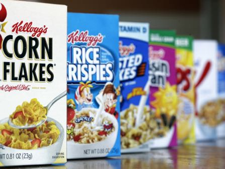 FILE - This Feb. 1, 2012, file photo, shows Kellogg's cereal products, in Orlando, Fla. Kellogg Co. reports quarterly earnings on Thursday, Feb. 6, 2014. (AP Photo/John Raoux, File)