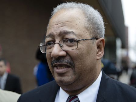 Former Rep. Chaka Fattah, D-Pa., walks from the federal courthouse after his sentencing hearing in Philadelphia, Monday, Dec. 12, 2016. Fattah was sentenced Monday to 10 years in prison for misspending government grants and charity money to fund his campaign and personal expenses. (AP Photo/Matt Rourke)