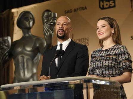 Actors Common, left, and Sophia Bush announce the nominations for the 23rd Annual Screen Actors Guild Awards at the Pacific Design Center on Wednesday, Dec. 14, 2016, in West Hollywood, Calif. The annual awards show honoring film and television performances will be held on January 29, 2017, in Los Angeles. (Photo by Chris Pizzello/Invision/AP)