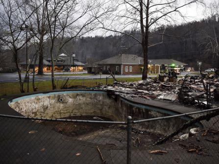 The remains of Creek Place Efficiencies in Gatlinburg, Tenn., Wednesday, Nov. 30, 2016.
