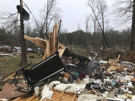 /// All photos credit to: Ryan Moore/WDAM-TV via AP. Moore gave us permission to use them and we pick up from him regularly. Only part of a barn owned by the Miller family remained standing just south of Mount Olive, Mississippi, on Monday, January 2, 2017, after it was hit by winds. The family's house and shed were also damaged in a storm system that moved through the South, causing widespread power outages and isolated damage. ---------- Forwarded message ---------- From: Ryan Moore Date: Mon, Jan 2, 2017 at 5:11 PM Subject: Storm photos To: jeffamy@gmail.com RM