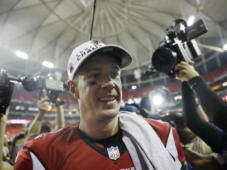 Atlanta Falcons' Matt Ryan walks off the field after the NFL football NFC championship game against the Green Bay Packers, Sunday, Jan. 22, 2017, in Atlanta. The Falcons won 44-21 to advance to Super Bowl LI. (AP Photo/David Goldman)