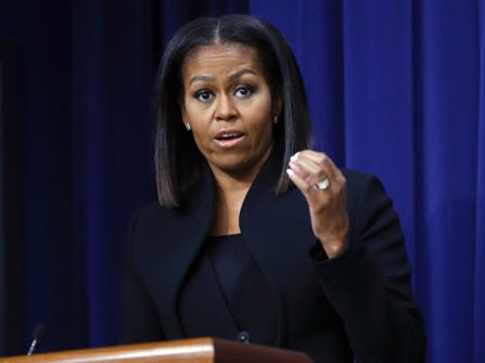 First lady Michelle Obama speaks after the screening for the movie 'Hidden Figures,' Thursday, Dec. 15, 2016, in the South Court Auditorium in the Eisenhower Executive Office Building on the White House complex in Washington. (AP Photo/Pablo Martinez Monsivais)