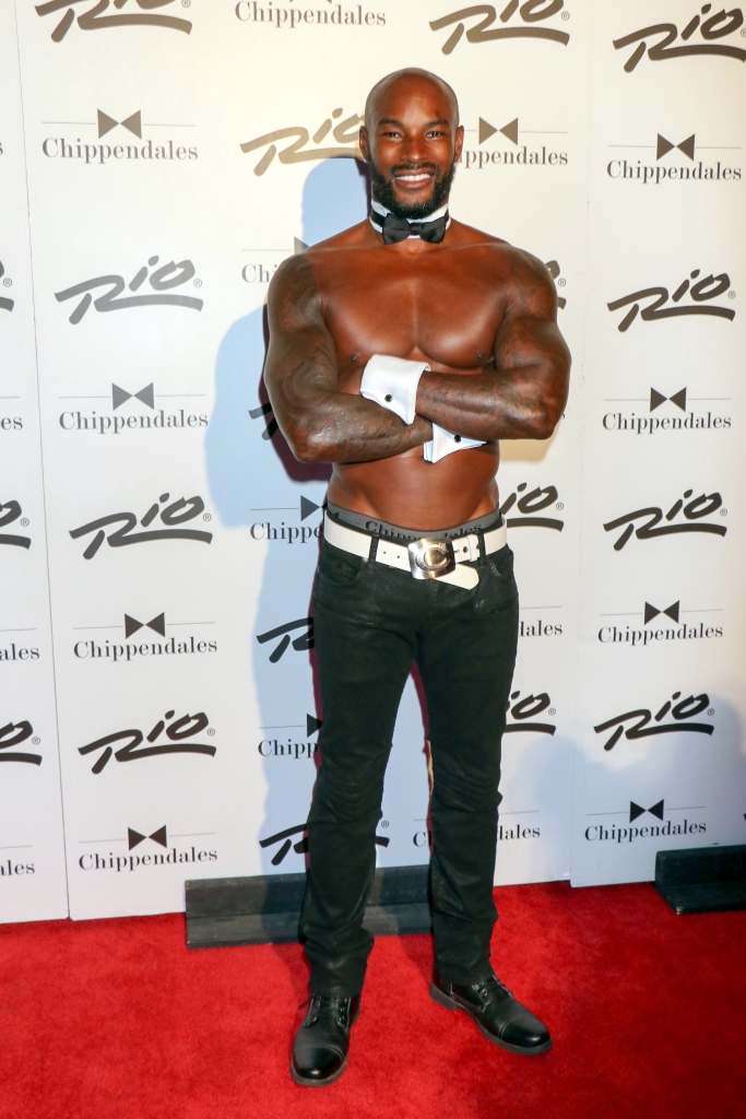 "08/28/2015 - Tyson Beckford - Tyson Beckford Returns to Celebrity Guest Host at Chippendales Theater in Las Vegas on August 28, 2015 - Chippendales Theater at Rio All-Suite Hotel & Casino - Las Vegas, NV, USA - Keywords: black shoes, full length shot, black pants, white belt, white cuffs, vertical, American fashion model, actor, tattoo, tattoos, shaved head, facial hair, beard, celebrity, celebrities, arts culture and entertainment, person, man, men, Nevada, shirtless, black bowtie, white collar, ""Make Me a Supermodel"" Reality TV Show Orientation: Portrait Face Count: 1 - False - Photo Credit: PRN / PRPhotos.com - Contact (1-866-551-7827) - Portrait Face Count: 1"