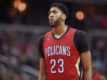 New Orleans Pelicans forward Anthony Davis (23) looks on during the first half of an NBA basketball game against the Washington Wizards, Saturday, Feb. 4, 2017, in Washington. (AP Photo/Nick Wass)