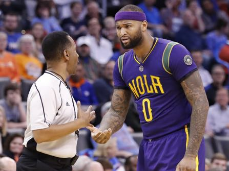 New Orleans Pelicans forward DeMarcus Cousins (0) reacts to an officials call against him during the first half of an NBA basketball game in Oklahoma City, Sunday, Feb. 26, 2017. (AP Photo/Alonzo Adams)
