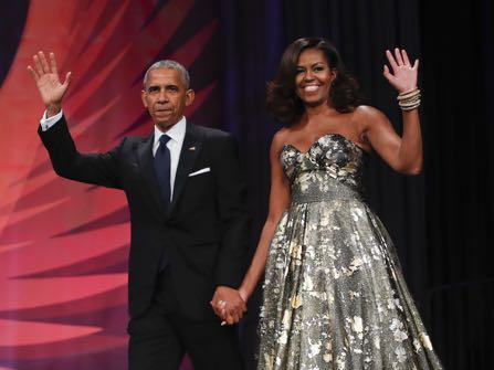 President Barack Obama and first lady Michelle Obama are introduced at the Congressional Black Caucus Foundation's 46th Annual Legislative Conference Phoenix Awards Dinner, Saturday, Sept. 17, 2016 in Washington. (AP Photo/Pablo Martinez Monsivais)