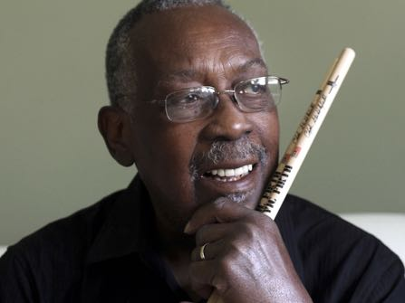 2013- file photo-Legendary drummer Clyde Stubblefield, pictured in his Madison, Wis. home Wednesday, October 23, 2013, will be honored with the Yamaha Legacy Award during a gathering of the Wisconsin State Music Conference on Friday, October 25, 2013 in Madison. (AP Photo/Wisconsin State Journal, John Hart )