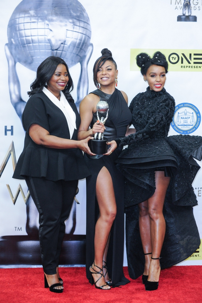 02/11/2017 - Octavia Spencer, Taraji P. Henson, Janelle Monae - 48th Annual NAACP Image Awards - Press Room - Pasadena Civic Center - Pasadena, CA, USA - Keywords: actress, singer, award, full length, hidden figures Orientation: Portrait Face Count: 1 - False - Photo Credit: Aaron J. Thornton / PR Photos - Contact (1-866-551-7827) - Portrait Face Count: 1