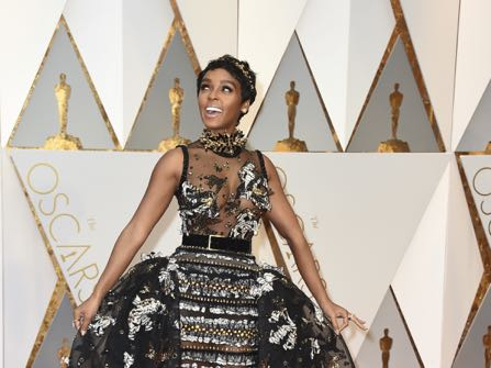 Janelle Monae arrives at the Oscars on Sunday, Feb. 26, 2017, at the Dolby Theatre in Los Angeles. (Photo by Jordan Strauss/Invision/AP)