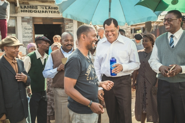 "Behind the scenes still from the ""Madiba"" miniseries. (Photo: Marcos Cruz/BET)"