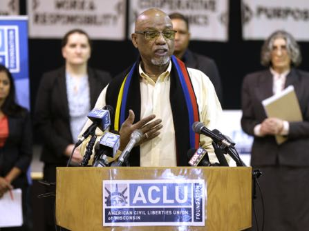 "One the plaintiffs, Charles Collins, who has lived in Milwaukee for 55 years talks about how he has been stopped repeatedly by police, during the press conference. - ACLU23 ACLU - The American Civil Liberties Union and ACLU of Wisconsin will announced a new lawsuit to further the rights of people of color in the City of Milwaukee, during a press conference at the Wisconsin Black Historical Society, located at 2620 W Center St, in Milwaukee on Wednesday, February 22, 2017. The suit, filed against the city, the†Fire and Police Commission and Milwaukee Police Chief Edward Flynn,†claims police routinely pull people over and stop them on the street without cause, demanding identification and searching them or their vehicles. Such stops are a violation of the fourth amendment, which requires police to have ìreasonable suspicion"" that the person is dangerous†or has committed a crime, the suit says. - Photo by Mike De Sisti / Milwaukee Journal Sentinel"