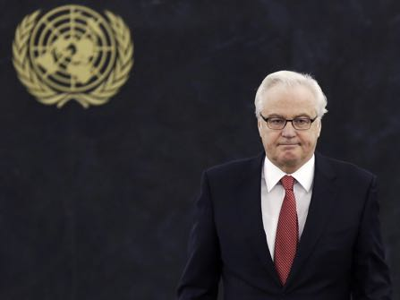 FILE In this file photo taken on Thursday, March 27, 2014, Russian ambassador to the United Nations Vitaly Churkin returns to his seat after speaking at United Nations headquarters. Russian officials said their ambassador to United Nations, Churkin, has died in New York City on Monday, Feb. 20, 2017. (AP Photo/Seth Wenig, file)